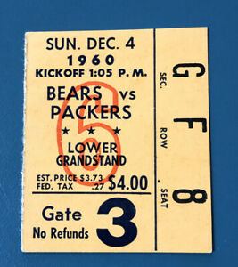 1960 Chicago Bears Ticket Stub vs Green Bay Packers Paul Hornung 22 Points WOW
