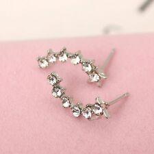 Women's Girls Silver Leaf Sweep Wrap Ear Climber Cuff Earrings fashion 6 crystal