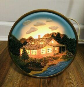 House On River Lamp Night Light Resin Vintage