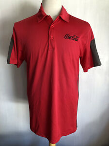 COCA-COLA Official Men's Employee Uniform Embroidered Red Polo Shirt Size Medium