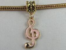 GOLD/ENAMEL PLATED MUSIC NOTE DANGLE CHARM  EURO STYLE CHARM BRACELETS (DC 068)