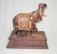 Antique Old Rare Hand Carved Rose Wood And I*R Work Elephant Shape Table Lamp