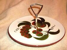 """STANGL POTTERY Orchard Song Tidbit Serving Plate w/handle 10 1/2"""" U.S.A."""