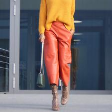 NWT Zara Orange Brick Faux Leather High Rise Crop Pants Culottes Size S