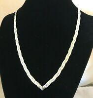 "925 Silver Necklace Braided Herringbone 18""  w/ Sterling Heart"
