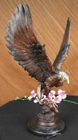 LARGE EAGLE BRONZE & cast iron base EAGLE sculpture statue Hot Cast Figure Decor