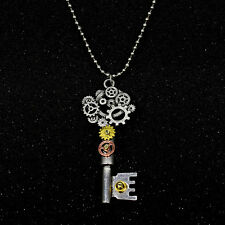 Punk Retro Silver Steampunk Gear Key Machinery Gear Pendant Necklace Chain