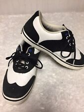 Crocs Mens Black White Leather Tennis Shoes 9