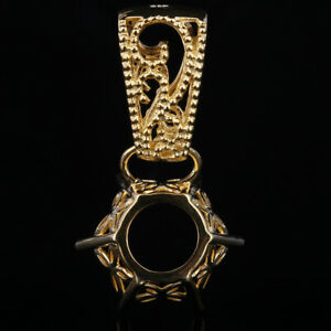 Solid 14K Yellow Gold Round Cut Filigree Solitaire Semi Mount Vintage Pendant