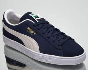 Puma Suede Classic XXI Men's Navy White Casual Athletic Lifestyle Sneakers Shoes