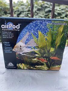 Air Pod Aquarium Air Pump,  Up to 30 Gallon Tank. Sound Cancelling Technology