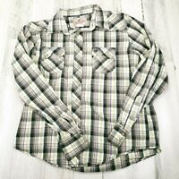 Mens Large Wrangler Cowboy Pearl Snap Plaid Lightweight Long Sleeve Shirt