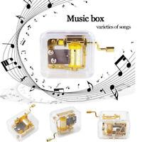 Mini Manual Movement Gurdy Music Box Acrylic Hand Crank Kids Gift Gold