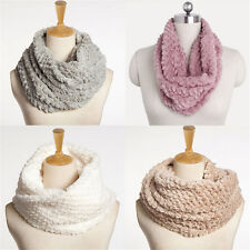 Nice Women Winter Warm Infinity Circle Cable Knit Cowl Neck Faux Fur Scarf Shawl