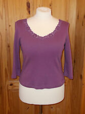 PER UNA M&S purple mauve lace trim sequin 3/4 sleeve tunic t-shirt top 16 44