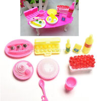 10Pcs Barbie Doll House Accessory Kitchen Food Cake Dinner Tableware Furniture