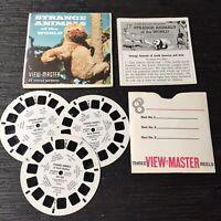 Vintage View-Master 3-Reel Set Strange Animals Of The World Complete Euc A199