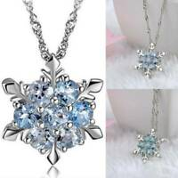 925 Sterling Silver Crystal Snowflake Pendant Necklace Women Christmas Jewellery