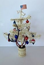 "Antique Xmas Christmas Patriotic 11"" White Feather Tree W/ Ornaments"