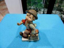 Hummel Goebel Figurine, Merry Wanderer  Boy with Umbrella and Satchel, Vintage