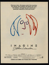 1988 JOHN LENNON IMAGINE Theater Movie Release VINTAGE MAGAZINE ADVERTISEMENT