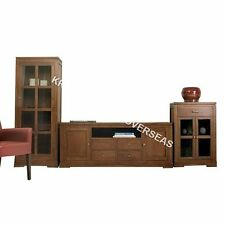 Comtempory Entertainment Unit and 2 Standing Display cabinet in Brown Colour