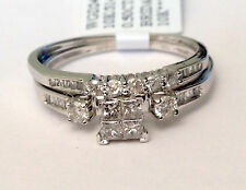 Size 7 White Gold Quad Princess Cut Diamonds Engagement Bridal Set Wedding Ring
