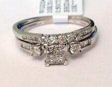 Size 7 White Gold Quad Princess Cut Diamonds Engagement Bridal Set Wedding Ring