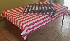 Usa Patriotic 4th of July Stars & Stripes Flag 80 x 58 Large Table Cloth (3329)