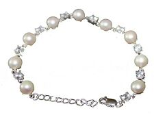 White Pearl and Cubic Zirconia Sterling Silver Bracelet