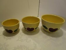 Watt Yelloware Red Apple Reduced Pattern 3 Nesting Mixing Bowl Set 1950's RARE