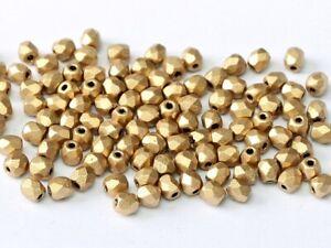 Matt Metallic Flax (Gold) Czech Fire Polished Beads - 2mm,3mm,4mm & 6mm Sizes