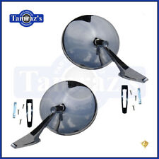 Chevy Chrome Round NO Bowtie Rear View SMOOTH Base Door Side Mirror & Hdw - PAIR