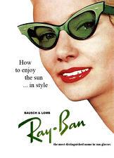 Vintage Années 1950 RAY BAN Lunettes de soleil Publicité A3 Print Poster reprint