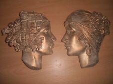 2 Art Deco Art Nouveau Lady Face plaster wall decorative hanging plaques bronzed