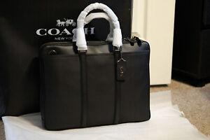 Coach Mens Metropolitan Slim Briefcase Black New