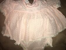 Vintage 1940's Pink Sheer Organdy Baby Infant Girl Party Dress Lace rubber pants