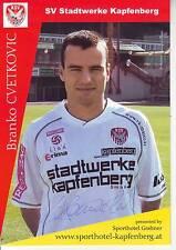 FOOTBALL carte joueur BRANCO CVETKOVIC équipe SV STADTWERKE KAPFENBERG signée
