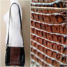 Vintage Brahmin Black Leather Crocodile Crossbody Bag Purse