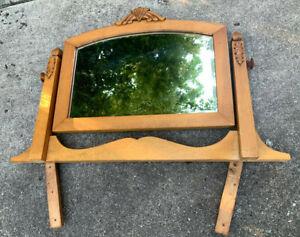 Antique Maple Mirror Swivel Beveled c 1910 -1920 w Support Brackets