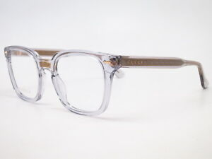 New Authentic Gucci GG0184O 005 Grey Transparent Eyewear Eyeglasses 50mm Rx-able
