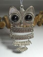 Large Funky OWL Necklace - Antique SILVER Colour - 3.5 inches - NEW UK Stock