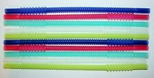 "Tupperware 10 Whistle Straws 11"" Long Rainbow Blue, Green, Red, Sheer Reusable"