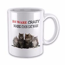 Beware Crazy MAINE COON CAT MAN Funny Novelty Gift Mug