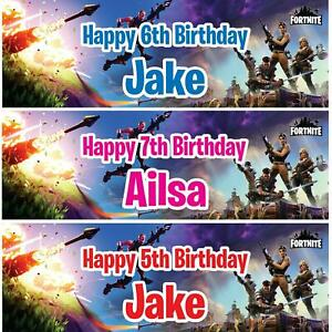 2 Personalised Birthday Banner Fortnite Kids Children Party Decoration Poster