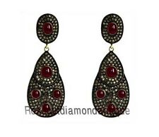 Ruby Vintage Wedding Style New Earrings 3.86ct Antique Rose Cut Diamond & Silver