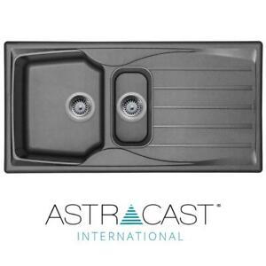 Astracast Sierra 1.5 Bowl Reversible Graphite Grey Kitchen Sink And Basket Waste