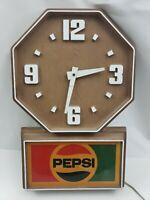 Pepsi Clock Plastic Wood Grain Vintage Impact International USA Made Cola FLAW