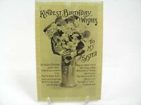 Antique printed postcard Birthday Card To my sister Art Deco vase of flowers