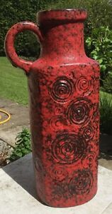 Huge 50cm 1960's/1970's Scheurich 'Jura' 482-50 Red & Black Fat Lava Jug Vase